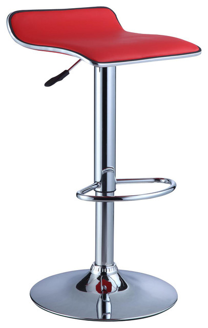 Powell Red Faux Leather And Chrome Adjustable Height Bar
