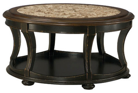 Hammary Dorset Round Cocktail Table In Black With Pretzel