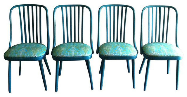 vintage turquoise dining chairs set of 4 eclectic
