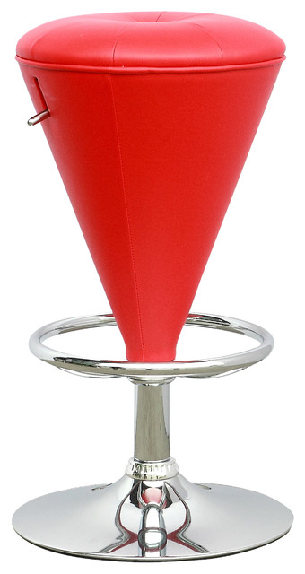 Cone Shaped Adjustable Barstool Red Leatherette