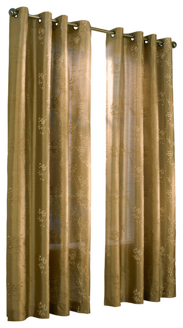 Josephina Grommet Top Faux Silk Embroidered Panel Taupe 52x84 Contemporary Curtains By
