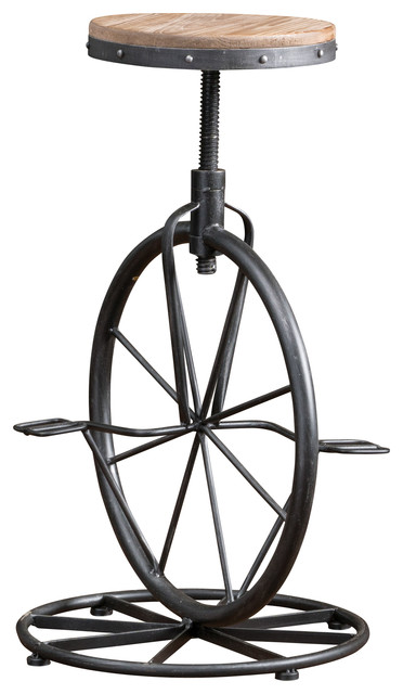 Charles Bicycle Wheel Adjustable Bar Stool Industrial