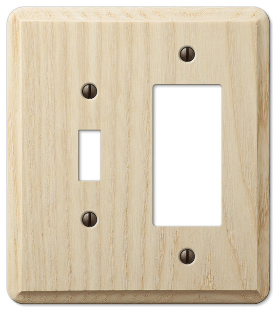 Contemporary unfinished ash wood 1 toggle 1 rocker for Wood floor outlet cover