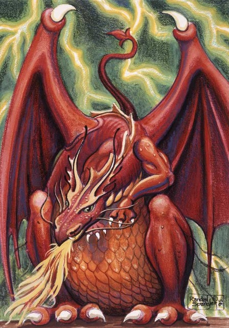 Red dragon spangler wall mural traditional wallpaper for Dragon mural wallpaper