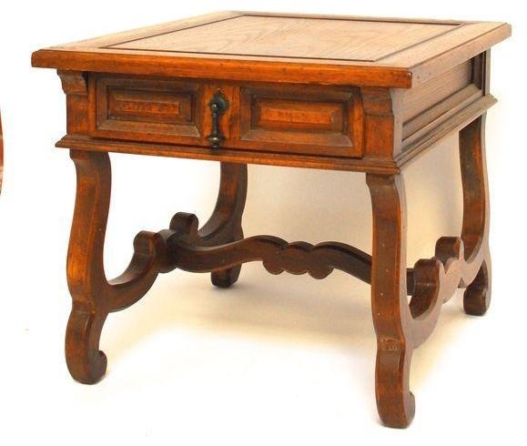 Vedel Industrial Loft Zinc Wood Rectangle Coffee Table: Hekman Spanish Trestle Side Table