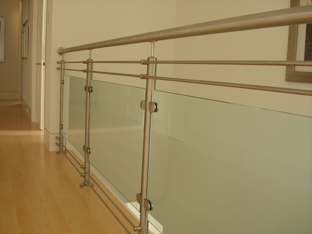 Stair system glass railing