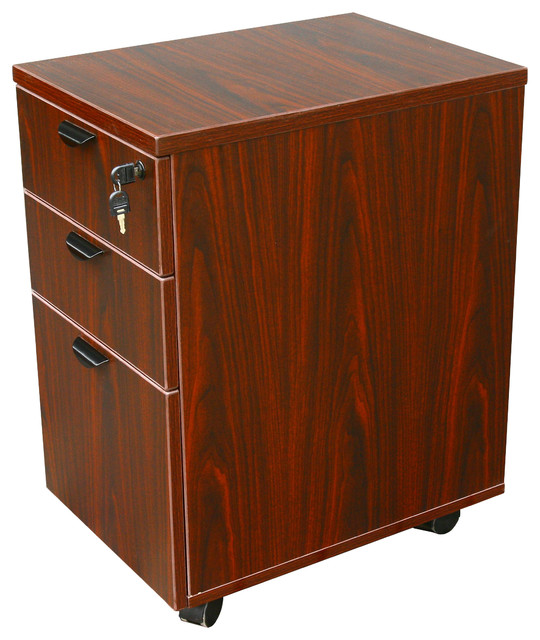 Boss Chairs Boss Mobile Pedestal Box/File in Honey and Mahogany - Traditional - Filing Cabinets ...