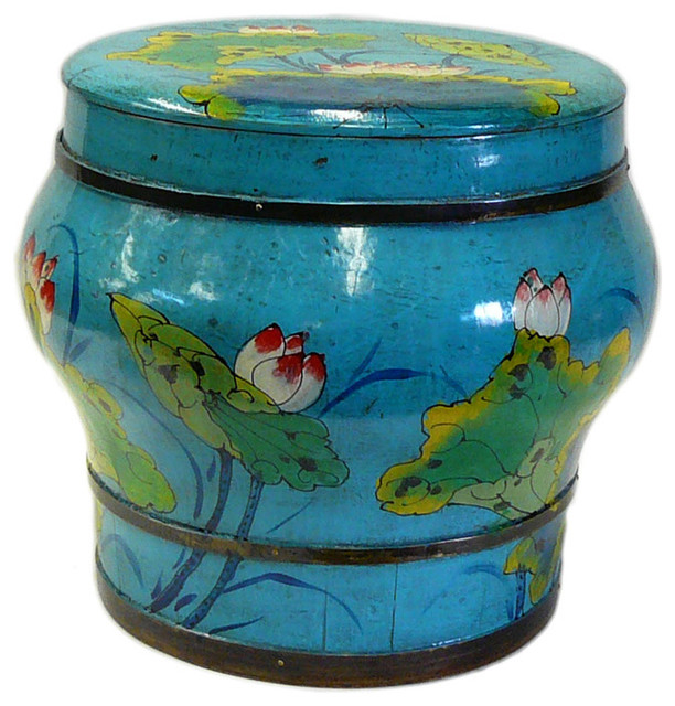 Round Decorative Boxes: Chinese Blue Color Floral Round Wood Bucket