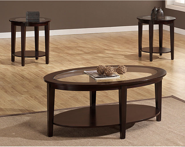 Oval 3 Piece Table Set Contemporary Coffee Tables By