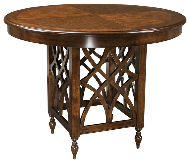 Standard furniture woodmont round counter height table in for Round pub table and chairs