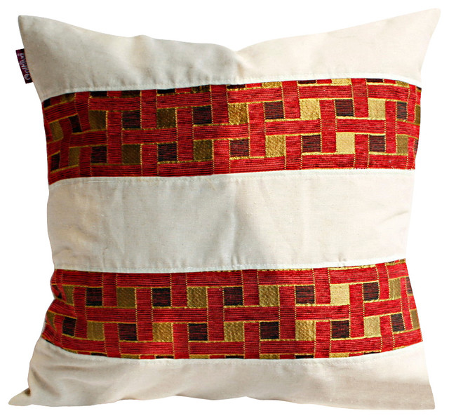 Passion Red Valley Linen Patch Work Pillow Floor Cushion 19.7 by 19.7 inches - Mediterranean ...