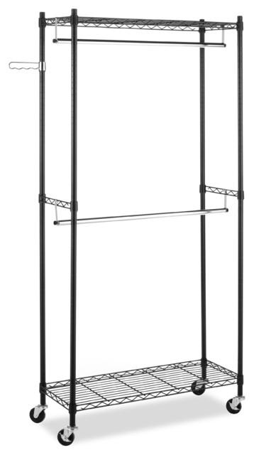 Whitmor Supreme Double Rod Rolling Garment Rack