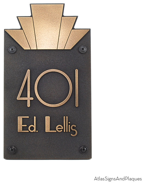moderne art deco address plaque 10 5 x 18 5 in brass patina house numbers milwaukee by. Black Bedroom Furniture Sets. Home Design Ideas