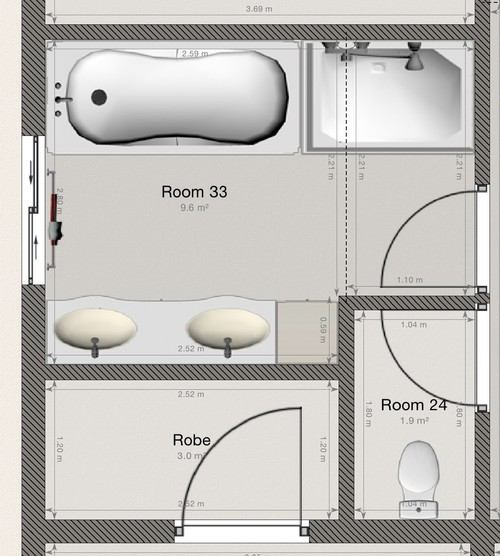 layout of new bathroom