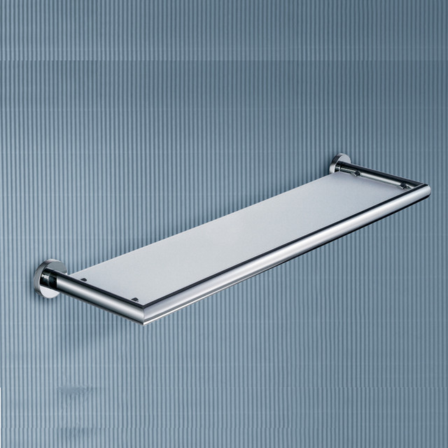 Frosted Glass Wall Mount Bathroom Shelf Contemporary