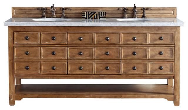 "Malibu 72"" Double Vanity Cabinet, Carrara White Stone Top - Rustic - Bathroom Vanities And Sink ..."