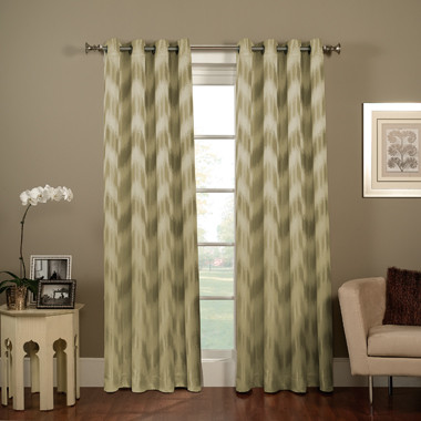 Chevron Ikat Grommet Window Curtain Panel Contemporary Curtains By Bed Bath Amp Beyond