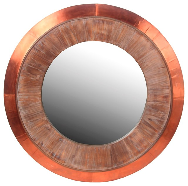 Privilege international wood and cooper wall mirror round for Decor products international