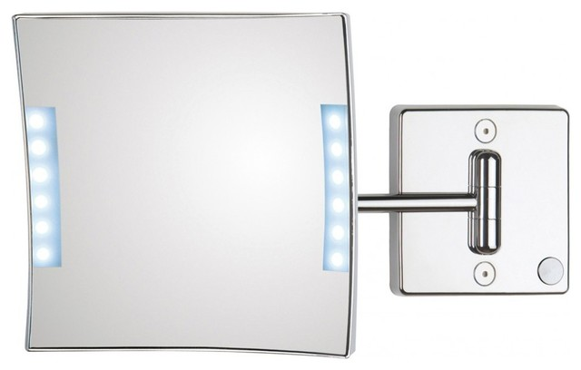 wall mounted lateral led lighted 3x chrome magnifying mirror. Black Bedroom Furniture Sets. Home Design Ideas