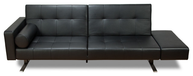 Marvelli Black Faux Leather Sleeper Couch Modern Futons