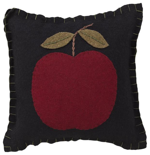 Modern Felt Pillows : Apple Harvest Felt Pillow Appliqued Apple - Modern - Decorative Pillows - by VHC Brands