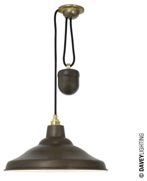 Industrial Rise And Fall Pendant Light: School Light Rise & Fall 7200 Weathered Copper/White