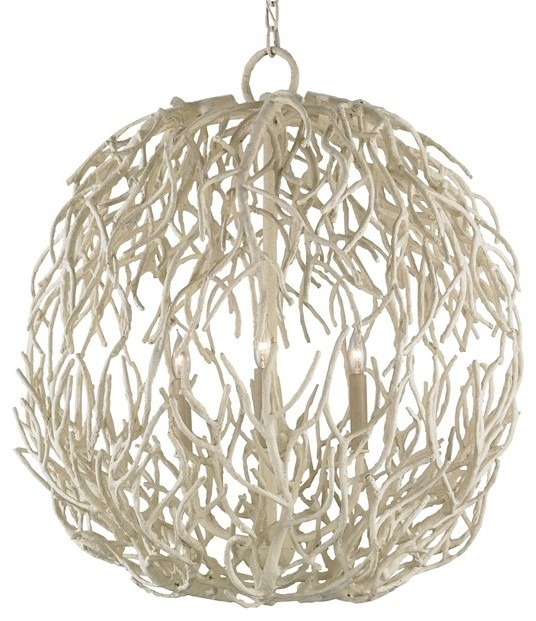 Red Coral Chandelier With 3 Lights: Currey & Co 9501 Eventide White Coral 3 Light Chandelier