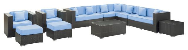 Advance Outdoor Wicker Patio 11 Piece Sectional Sofa Set