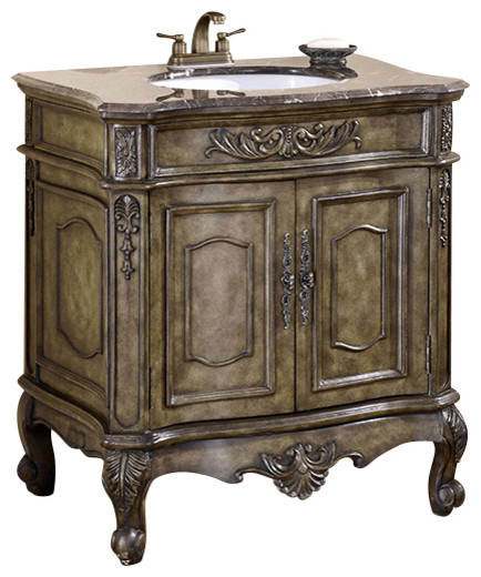 34 Inch Single Bathroom Vanity With Marble Top Traditional Bathroom Vanities And Sink