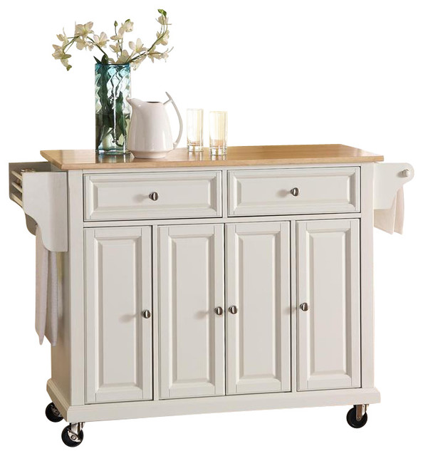natural wood top kitchen cart island in white
