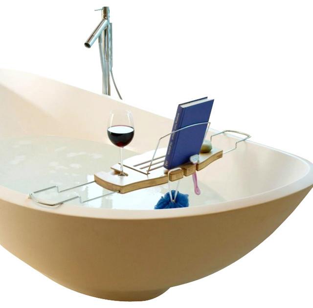 Umbra Aquala Bamboo Bathtub Caddy Contemporary Shower