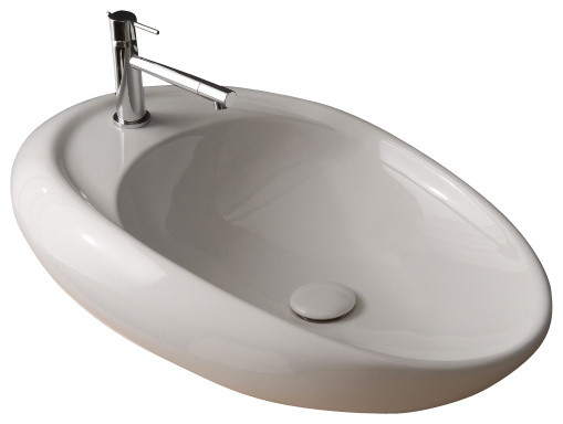 oval shaped white ceramic vessel bathroom sink one hole contemporary bathroom sinks by. Black Bedroom Furniture Sets. Home Design Ideas