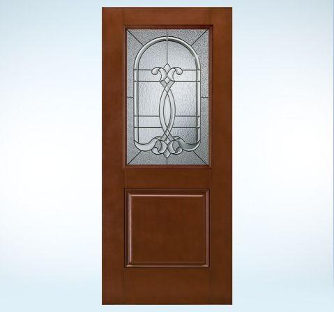 Design pro smooth pro fiberglass glass panel exterior door for 6 panel glass exterior door