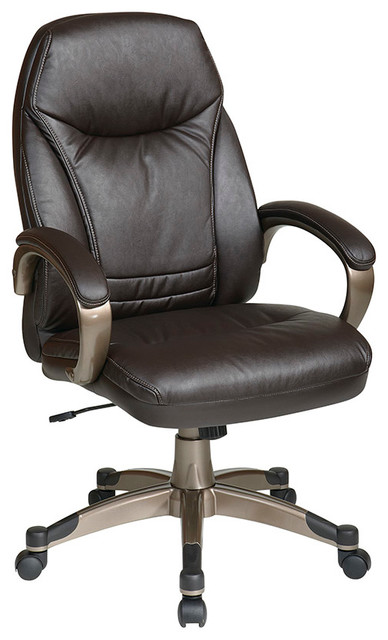 Work Smart FL Series Deluxe Faux Leather High Back Chair Traditional Offi