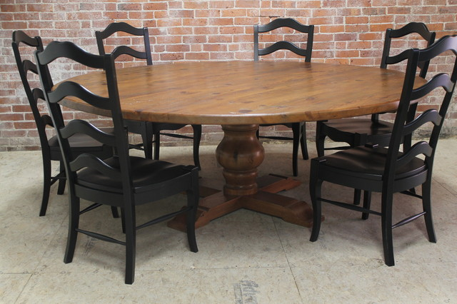 Large 84 rustic round table rustic dining tables for Rustic round kitchen table
