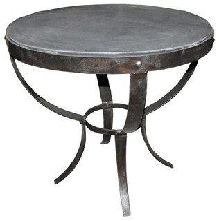 noir furniture byron side table metal with stone top gtab286st industrial side tables. Black Bedroom Furniture Sets. Home Design Ideas