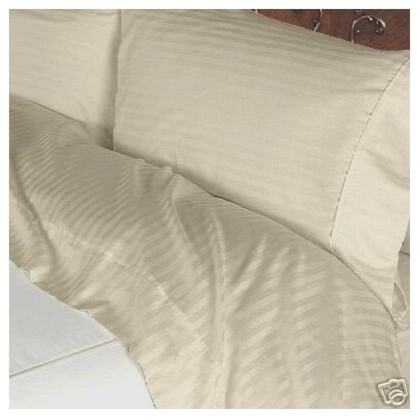 400tc 100 Egyptian Cotton Stripe Beige Full Size Sheet