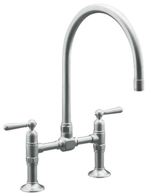 kohler hirise stainless deck bridge faucet traditional kitchen faucets other metro by