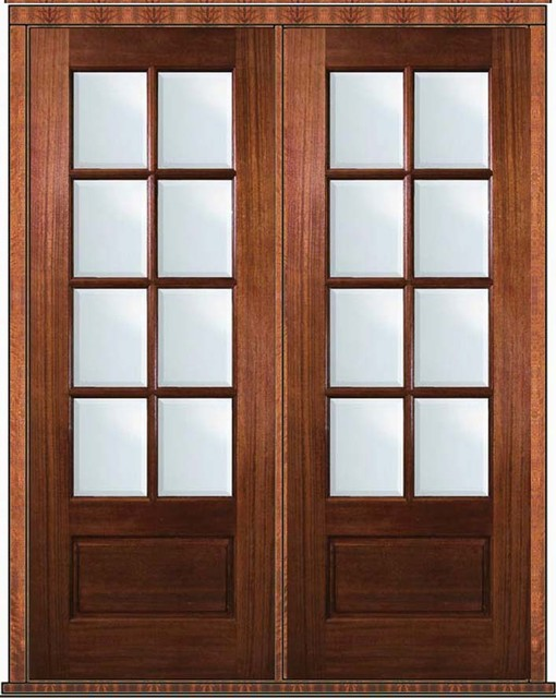 Pre hung french double door 96 mahogany 3 4 lite 8 lite for Double hung french patio doors