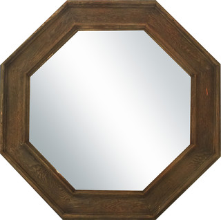 wooden octagonal mirror large rustic wall mirrors