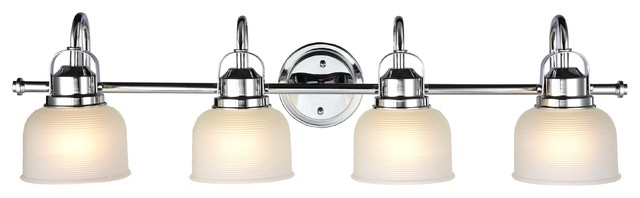 Industrial Style 4 Light Bath Vanity Fixture Chrome And White Frosted Glass Traditional