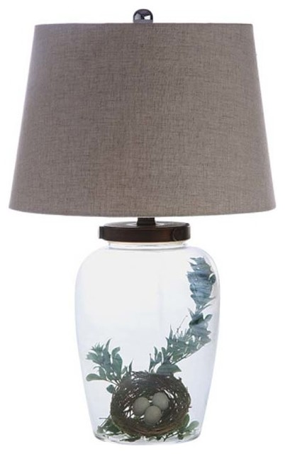 Fillable Glass Table Lamp With Shade Eclectic Table