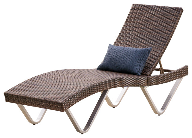 Manuela Outdoor Single Multibrown Wicker Chaise Lounge Chair Contemporary