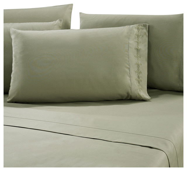 Elegant Series Sage Green Bed Sheet Set Contemporary