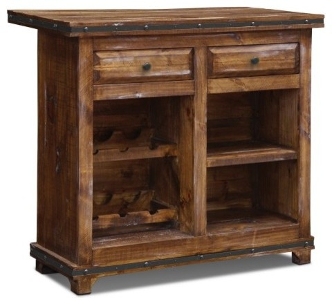 ... Bar With Wine Cabinet and Metal Foot Rail rustic-wine-and-bar-cabinets