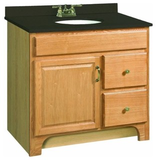 """Richland Nutmeg Oak Vanity Cabinet with 1-Door and 2-Drawers, 36"""" by 33.5"""" - Farmhouse ..."""