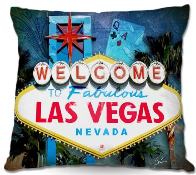 DiaNoche Outdoor Pillows Corina Bakkes Vegas Sign Blue