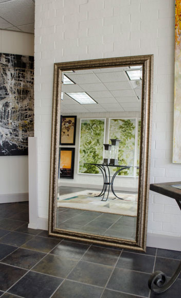Floor mirror with gold frame contemporary floor for Gold floor standing mirror