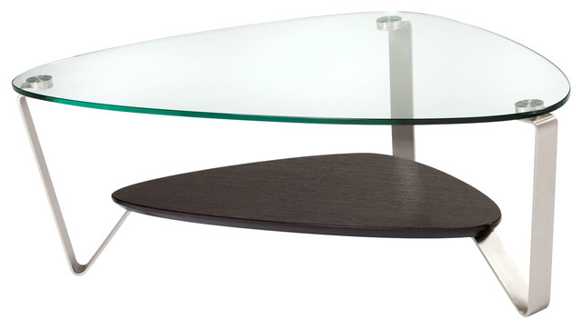 Dino Large Soft Triangular Coffee Table Espresso Stained Oak Contemporary Coffee Tables