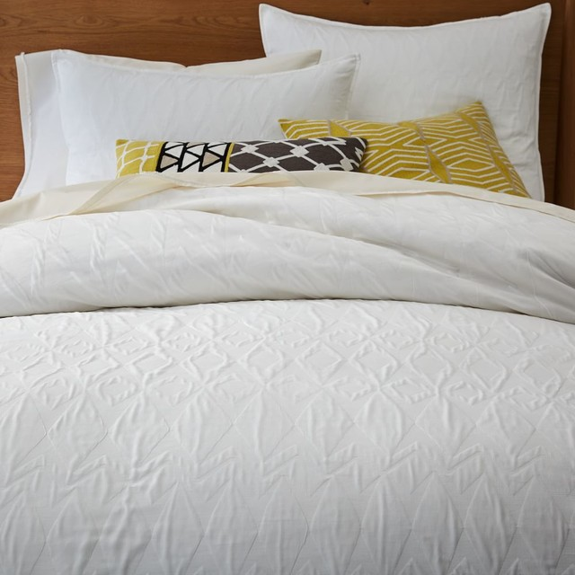 Organic Shadow Diamond Matelasse Duvet Cover Pillowcases